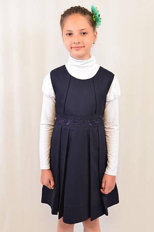 Черный сарафан с вышивкой для девочки в школу, фото 2