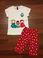 Детская одежда оптом Комплект для девочек футболка и шорты оптом р.1-7лет, фото 1