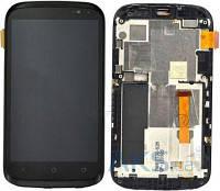 Дисплей для HTC T328e Desire X + touchscreen, черный, с передней панелью