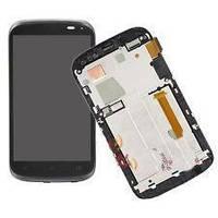 Дисплей для HTC T328e Desire X + touchscreen, черный, с передней панелью серебристого цвета