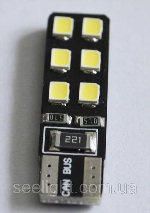 Светодиодная автолампа в габарит W5W/T10 со встроенной обманкой бортового компьютера 2835-12 9-16 В Белый