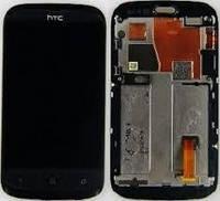 Дисплей для HTC T328w Desire V + touchscreen, черный, с передней панелью серебристого цвета