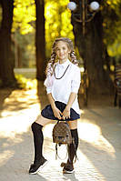 """Школьная длинная свободная стильная белая блузка """"летучая мышь"""" с цепочкой 134 140 146 152, фото 1"""