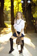 """Школьная длинная свободная стильная белая блузка """"летучая мышь"""" с цепочкой 134 140 146 152"""