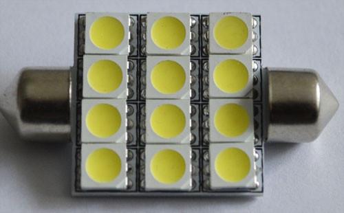Светодиодная автомобильная лампа в подсветку салона автомобиля SV8,5(C5W)-42mm-5050-12 Белый