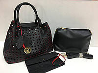 Кожаная сумка Dior 3в1 черная 1154