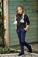 """Школьная длинная свободная стильная чёрная блузка """"летучая мышь"""" с цепочкой 134 140 146 152, фото 1"""