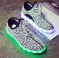 Светящиеся LED кроссовки LEDKED Yeezy White