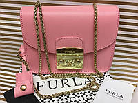 Кожаная женская сумочка Furla Lux розовая 1265