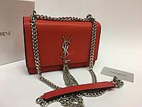 Кожаная брендовая женская сумка YSL lux копия красная 1271
