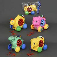 """Каталка 0334-0337 (72) """"Животные"""" на веревке, с погремушкой, 4 вида, в кульке"""