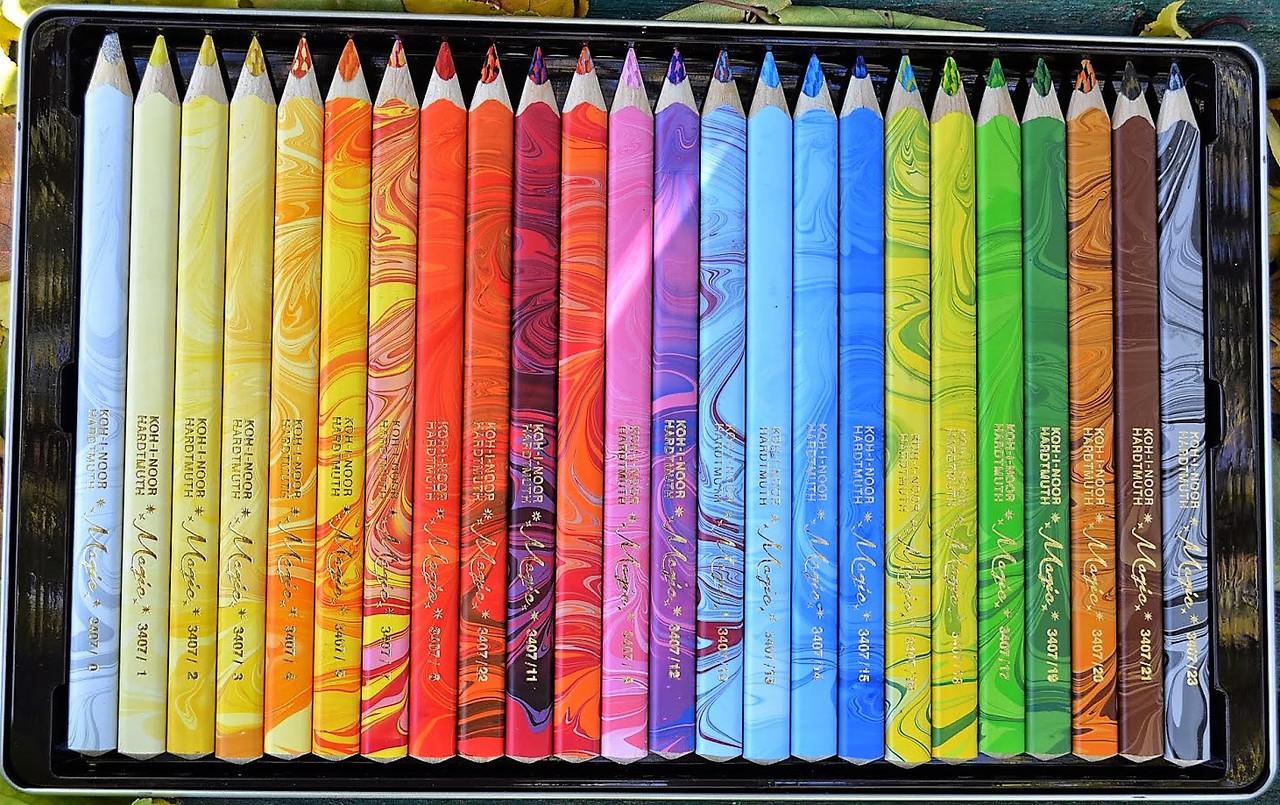 Карандаши KOH-I-NOOR цветные Magic, 23 шт. + Блендер