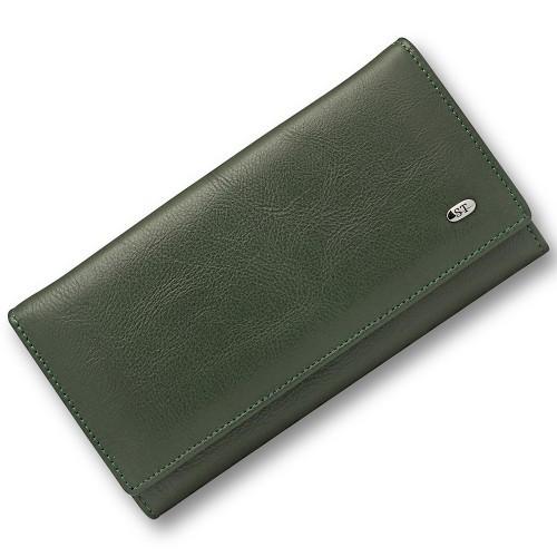 Стильный женский кожаный кошелек в зеленом цвете с внутренними карманами перегородками ST Leather