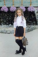 Школьная белая блузка рубашка на девочку с завязками на рукавах 134 140 146 152