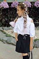 Школьная форма юбка-шорты в складку с карманами на девочку чёрные 134 140 146 152