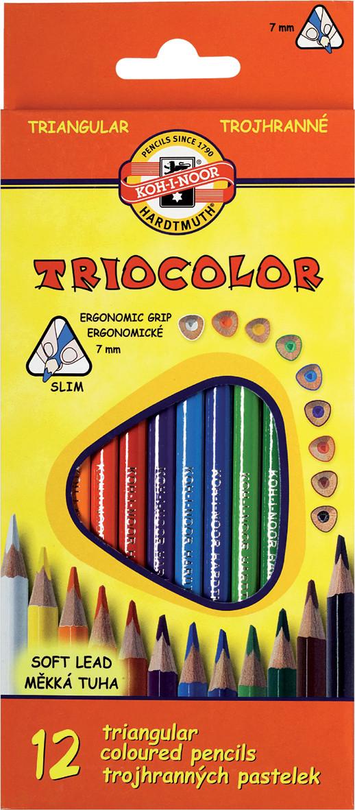 Карандаши цветные KOH-I-NOOR TRIOCOLOR, 12 цветов