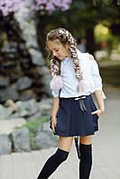 Школьная форма юбка-шорты в складку с карманами на девочку синие 134 140 146 152