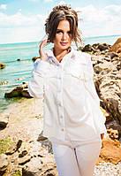 Женская шифоновая рубашка  с кружевом