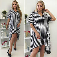 Платье-рубашка Полоска асимметрия Батал