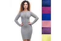 Женское платье шерстяное вязаное ажурное стильное