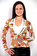 Блуза жакет двойка с длинным рукавом и белой майкой