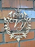 Семейный герб или монограмма без покраски. Изготовлено из фанеры 6 мм, размеры 40 на 50 см
