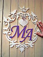 Семейный герб или монограмма с покраской в 2 цвета. Изготовлено из фанеры 6 мм, размеры 40 на 50 см