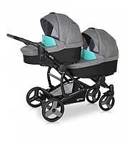 Детская коляска для двойни VERDI For 2 цвет 01 серый/голуб