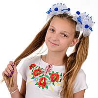 Красивые сине белые банты для девочек