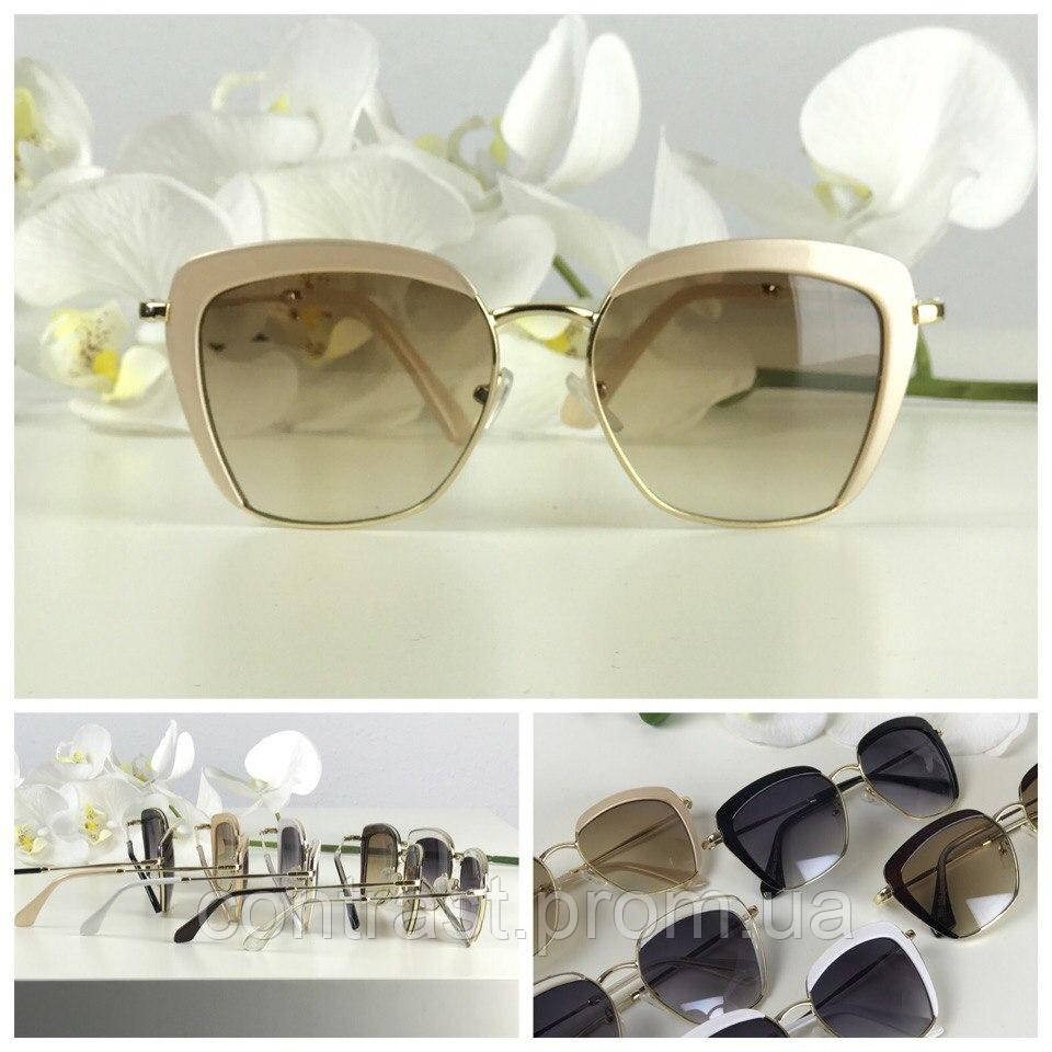 Эффектные солнцезащитные очки с оверсайз-оправой (бежевая оправа, коричневая линза)