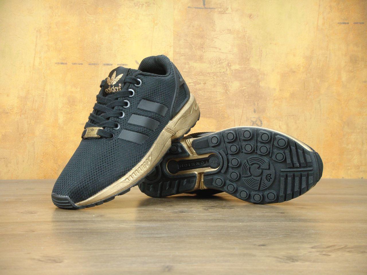 the latest 11769 974e7 Кроссовки женские Adidas ZX Flux Black/Gold Реплика