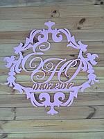 Семейный герб или монограмма с датой свадьбы. Изготовлено из фанеры 6 мм, размеры 40 на 50 см
