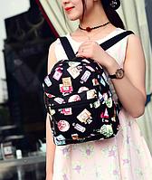 Рюкзак женский из кожзама городской Цветочный принт
