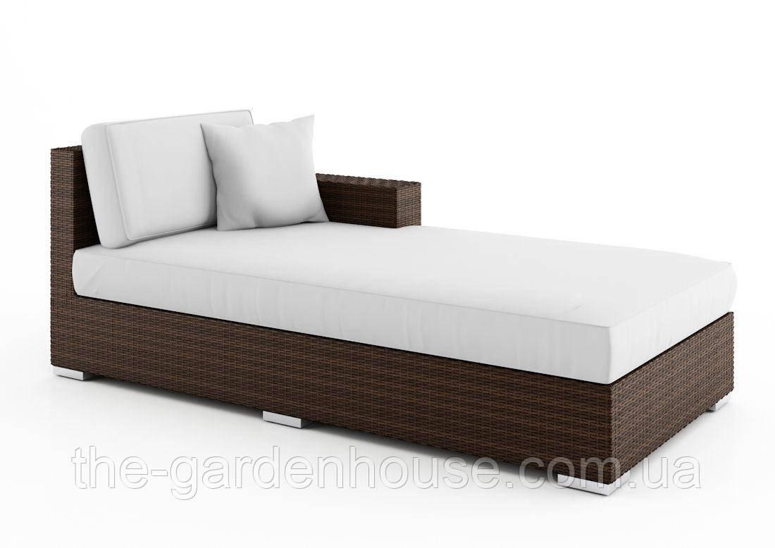 Лежанка, правый модуль системы Milano Modern из искусственного ротанга коричневый