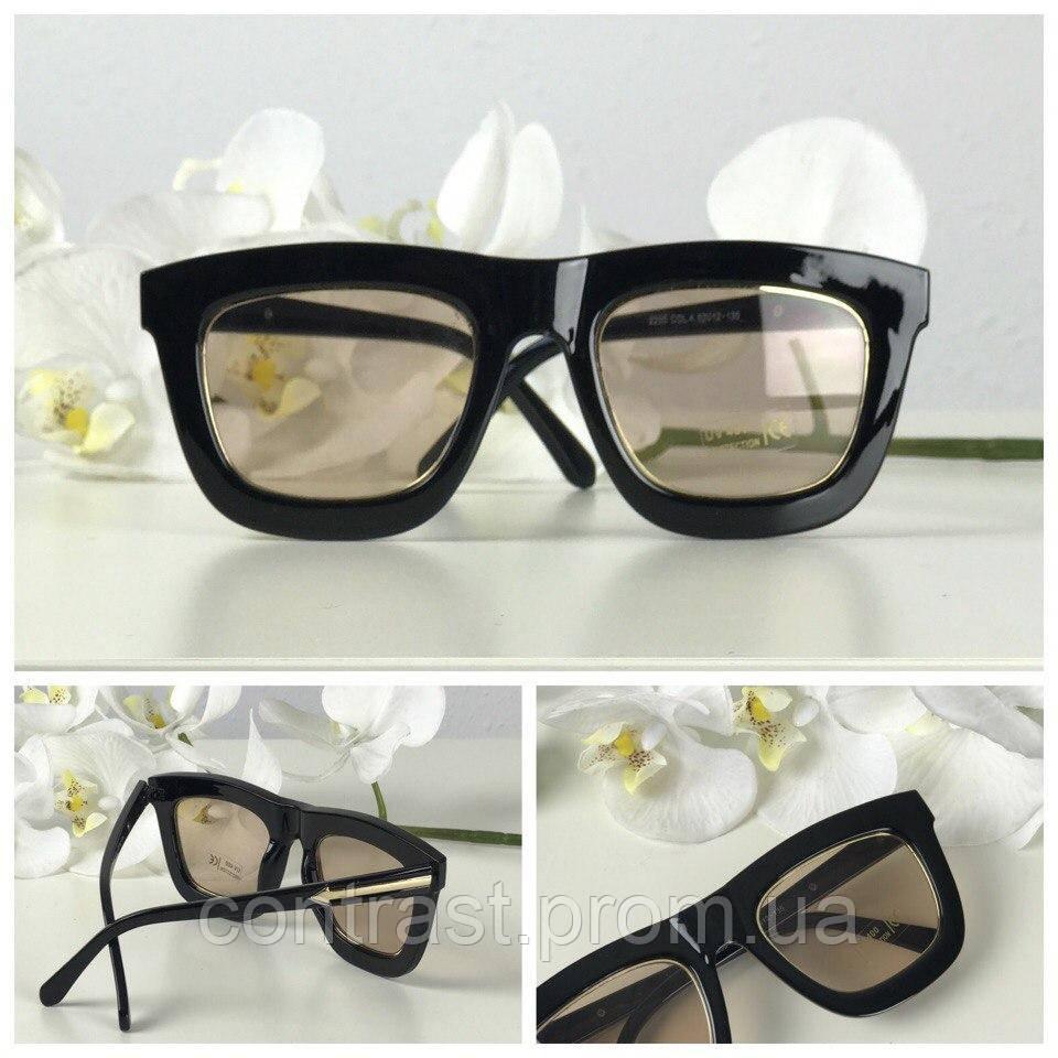 Элегантные солнезащитные очки с широкой оправой (светло-коричневая линза)