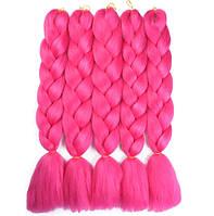 Канекалон для плетения кос ярко-розовый 1,3 метра