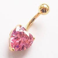 """Серьга для украшения пирсинга пупка """"Сердце"""" ( розовый кристалл). Медицинская сталь, золотое анодирование.."""