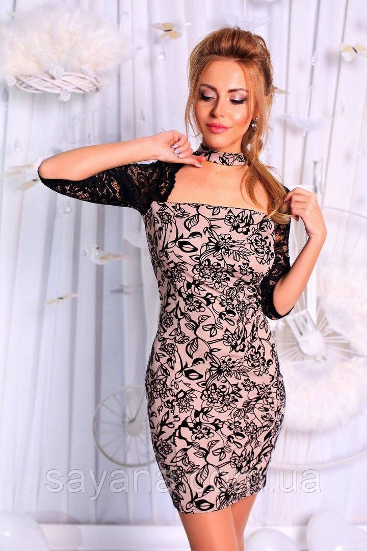 Женское стильное платье с чокером в расцветках. ПН-8-0717