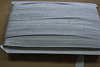 Бейка резинка трикотаж парча серебро