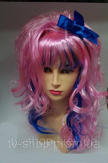 Парик розово-синий с бантиком