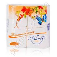 Туалетная бумага мини рулон, на гильзе 2-х слойная, белая, 18м, МРС, 4 ролика/уп