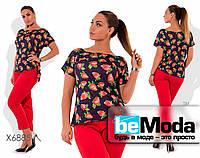 Модный женский костюм из блузы с ягодным принтом и однотонных брюк черный с красным