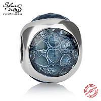 """Серебряная подвеска шарм Пандора (Pandora) """"Голубая солнечная капелька"""" для браслета бусина"""