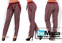 Модные женские облегающие брюки из тонкого коттона с мелким принтом и оригинальным поясом бордовые