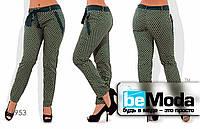 Модные женские облегающие брюки из тонкого коттона с мелким принтом и оригинальным поясом черные