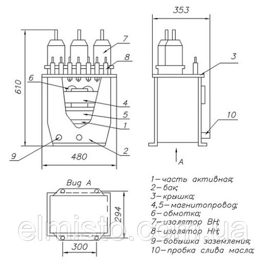 Чертеж, габаритные и установочные размеры трансформатора НТАМИ-6
