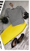 Костюм женский футболка тельняшка+юбка, Р. 42 44 46 48. Мятный, Черный, Электрик, Желтый