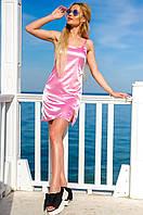 Женское атласное платье в спортивном стиле (розовое) Love KAN № 0203