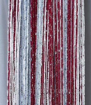 Шторы-нити люрекс радуга 3мх3м бордовый с серым