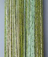 Шторы-нити кисея люрекс радуга 3мх3м салатовый-зеленый-беж